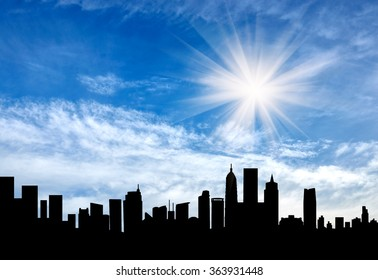 silhouette of a beautiful cityscape in the background of a beautiful sunrise
