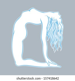 Silhouette of a beautiful young yoga girl