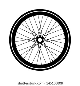 Silhouette of a bicycle wheel. Fixed gear