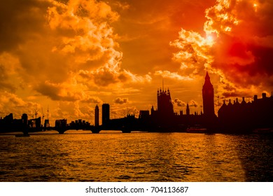 Silhouette of Big Ben and Westminster bridge landmark of London
