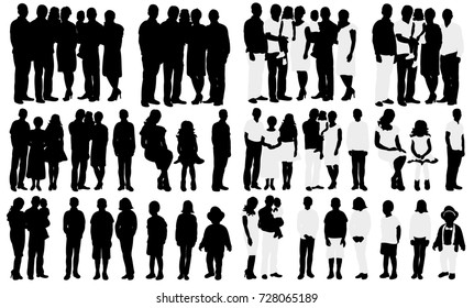 silhouette big family with baby, isolated, a collection of silhouettes