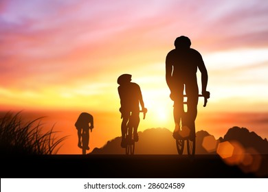 silhouette bike on sunset and bicycle background