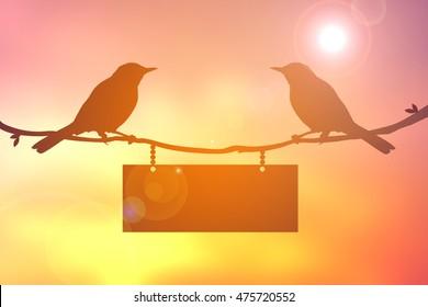 Silhouette bird on sunset