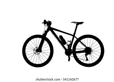 Silhouette black mountain bicycle isolated on white background