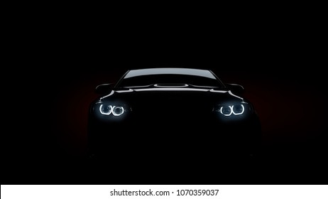 silhouette of black sports car with headlights on black background, photorealistic 3d render, generic design, non-branded