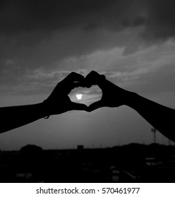 Silhouette in black and white for heart-shaped Valentine's Day