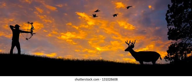 Silhouette of a bow hunter aiming at a White tail buck against an evening sunset.