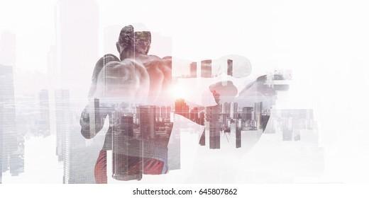 Silhouette of boxer