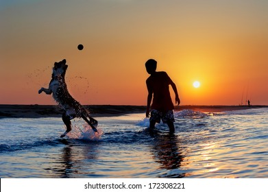 Silhouette of boy and dog playing on the beach at sunrise.