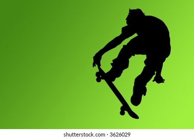 Silhouette of a boy on a skateboard isolated on a green gradient background with a clipping path