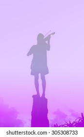 Silhouette of boy playing violin on stump