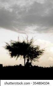 Silhouette of boy sitting under the tree