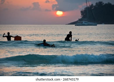 Silhouette of boys surfing on boards in ocean shore during sunset