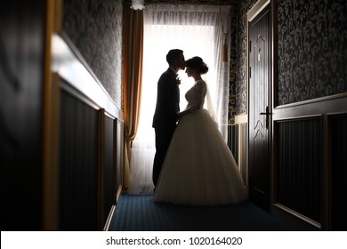 Silhouette of a bride and groom on the background of a window.