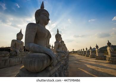 Silhouette Buddha in the evening , Nakhon Si Thammarat , Thailand .