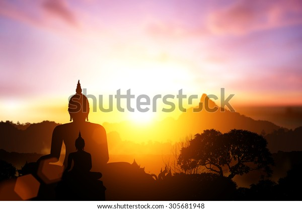 Silhouette of Buddha on on sunset.end of Buddhist Lent