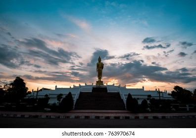 Silhouette of Buddha with sunset light