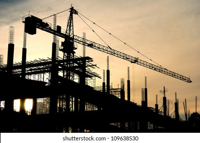 silhouette of the building construction