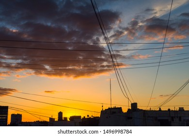 Silhouette of Buildings and Electric Cables During Sunset in Downtown Buenos Aires, Argentina