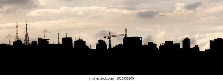 Silhouette of buildings in Sao Paulo, Brazil. Beautiful panoramic skyline