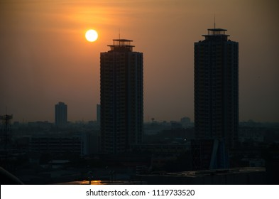 silhouette buildings and sunset in  the city