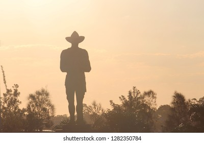 Silhouette of bushes and a monument in a soft afternoon light. The monument is an Australian World War One Digger standing guard. Remembrance Day - Anzac Day.