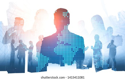 Silhouette of business leader and members of his team communicating over skyscraper background with double exposure of world map. International company concept. Toned image