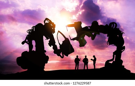 Silhouette of business man command automation robot arm machine technology , industry 5.0 , artificial intelligence trend concept. Sunrise twilight background.