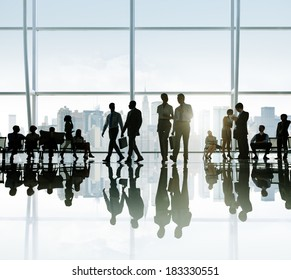 Silhouette of Business People at Break in New York