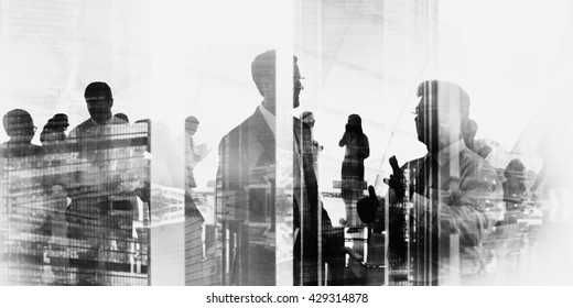 Silhouette Business People Discussion Meeting Cityscape Team Concept