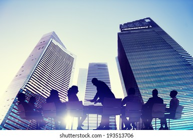 Silhouette of Business People Meeting Outdoors