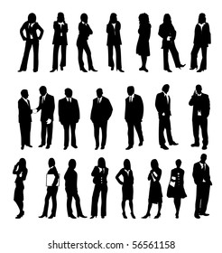 Silhouette of Business people on white