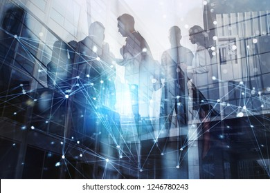 Silhouette of business people working together in office. Concept of teamwork and partnership. double exposure with network effects