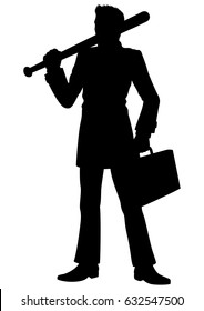 Silhouette businessman with a baseball bat. Illustration a man, dressed in a costume. He holds a baseball bat and a case