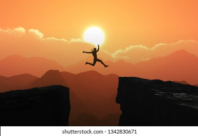 Silhouette a businessman jumps over the ravine. Challenge, obstacle, optimism, determination in business concept - Photo