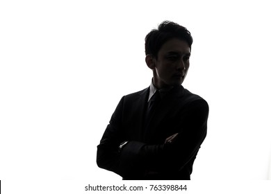 Silhouette of businessperson.