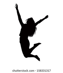 Silhouette of businesswoman jumping
