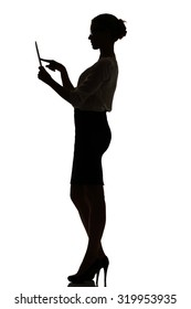 silhouette of a busy business woman backlight studio on white