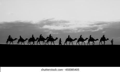 Silhouette Camel caravan