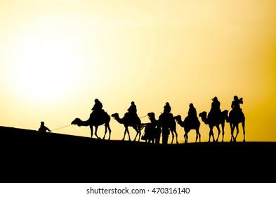 Silhouette of a Camel Caravan in the Sahara Desert During Sunrise