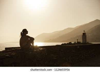 Silhouette at Camogli sunset in summer - Liguria - Italy