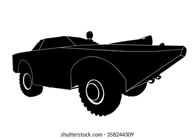 Silhouette of the car, isolated on white background.