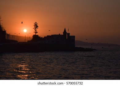 Silhouette of castle at sunset in Valparaiso