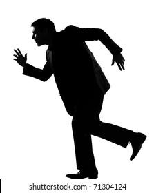silhouette caucasian business man  expressing behavior full length on studio isolated white background