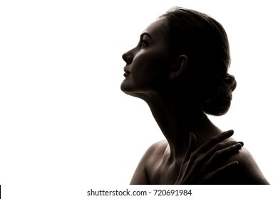 Silhouette of caucasian woman.