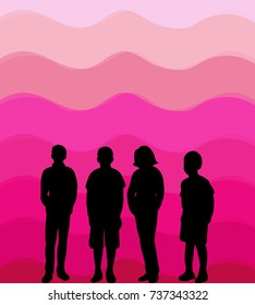 silhouette of children on beautiful background, isolated