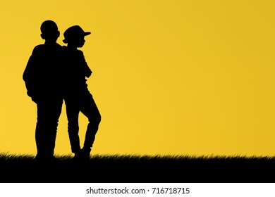 silhouette of children traveling during the summer holidays, Asian kid at the sunset, happy time, Journey to learn.