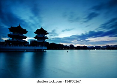silhouette of Chinese Pagoda at Singapore
