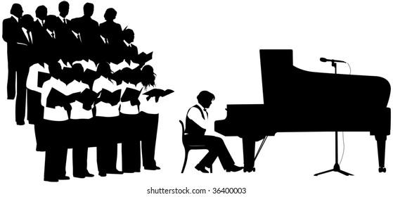 Silhouette chorus. Raster version of vector illustration.