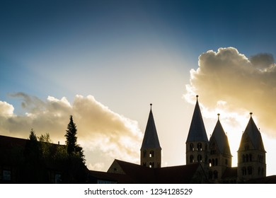 Silhouette of the church Liebfrauenkirche in Halberstadt at sunset